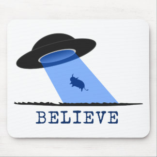 Believe (UFO beaming up cow) Mouse Mat