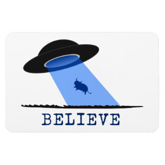 Believe UFO beaming up cow Magnet