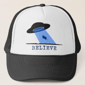 Believe (UFO beaming up cow) Trucker Hat