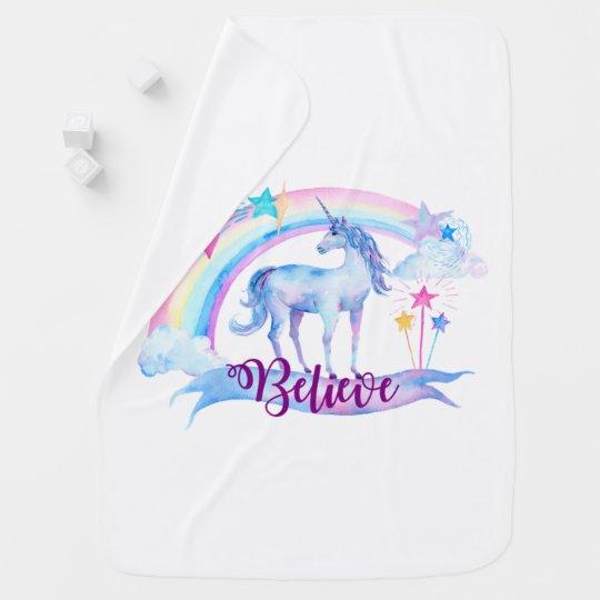 Believe / Unicorn Baby Girl's Nursery Baby Blanket
