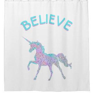 Believe Unicorn Fantasy Shower Curtain