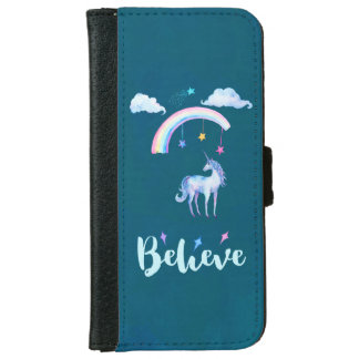 Believe with a Unicorn Under a Rainbow iPhone 6 Wallet Case