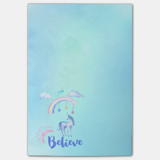 Believe with a Unicorn Under a Rainbow Post-it Notes