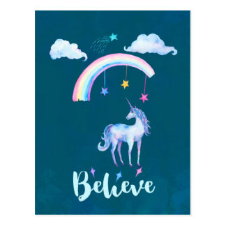 Believe with a Unicorn Under a Rainbow Postcard