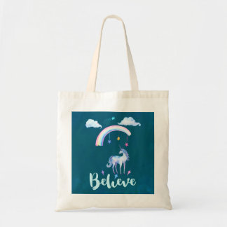 Believe with a Unicorn Under a Rainbow Tote Bag