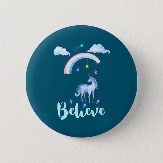 Believe with a Watercolor Unicorn Under a Rainbow
