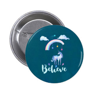 Believe with a Watercolor Unicorn Under a Rainbow 6 Cm Round Badge