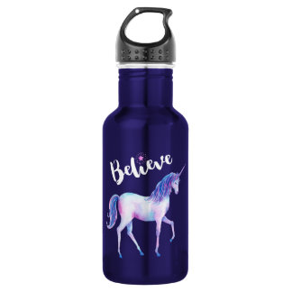 Believe with Unicorn In Pastel Watercolors 532 Ml Water Bottle