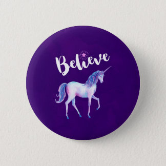 Believe with Unicorn In Pastel Watercolors 6 Cm Round Badge