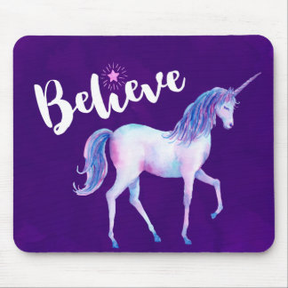 Believe with Unicorn In Pastel Watercolors Mouse Pad