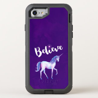 Believe with Unicorn In Pastel Watercolors OtterBox Defender iPhone 8/7 Case