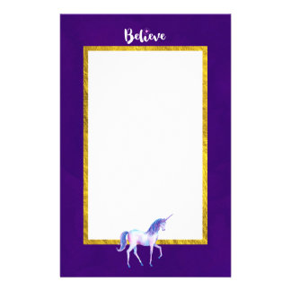 Believe with Unicorn In Pastel Watercolors Personalized Stationery