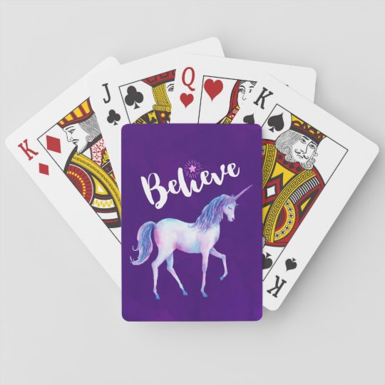 Believe with Unicorn In Pastel Watercolors Playing Cards