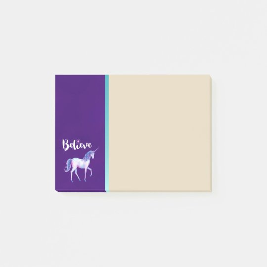 Believe with Unicorn In Pastel Watercolors Post-it Notes