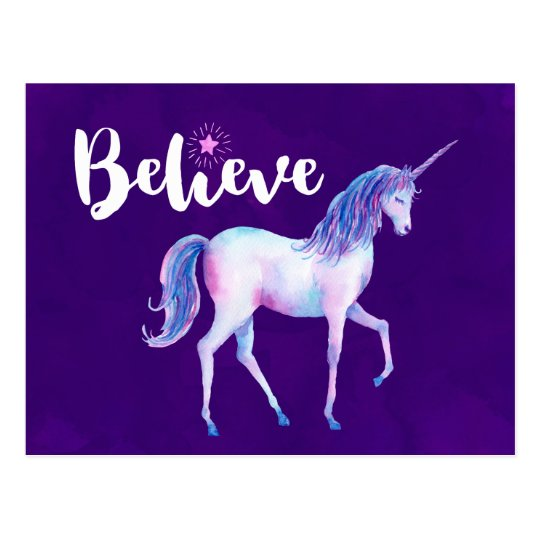 Believe with Unicorn In Pastel Watercolors Postcard