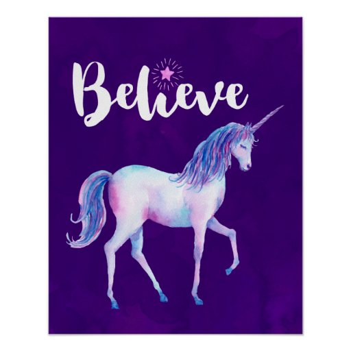 Believe with Unicorn In Pastel Watercolors Poster