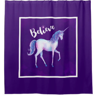 Believe with Unicorn In Pastel Watercolors Shower Curtain