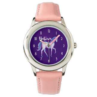 Believe with Unicorn In Pastel Watercolors Watch