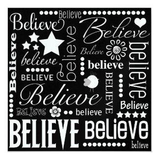 Believe Word Art 13 Cm X 13 Cm Square Invitation Card
