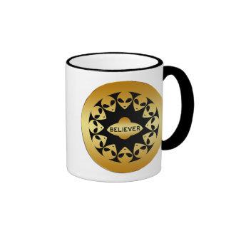 BELIEVER - GOLD ALIENS AND UFO COFFEE MUG