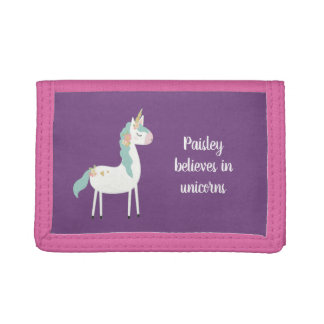 Believes in unicorns, little girl gift + name trifold wallets
