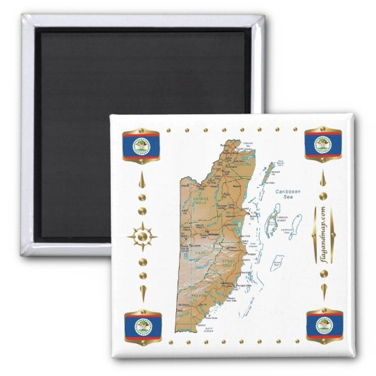 Belise Map + Flags Magnet