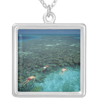 Belize, Barrier Reef, Lighthouse Reef, Blue Silver Plated Necklace