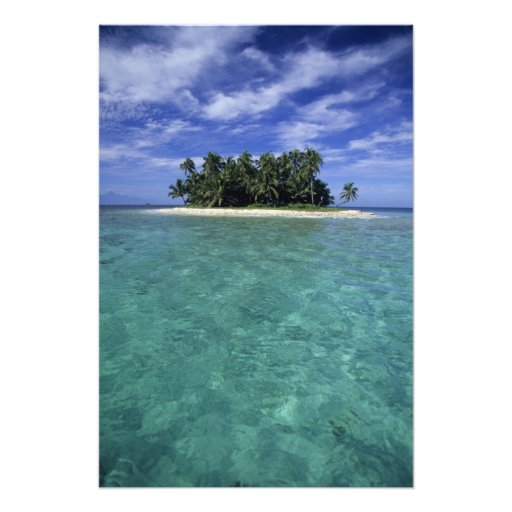 Belize, Barrier Reef, Unnamed island or cay. Photographic Print