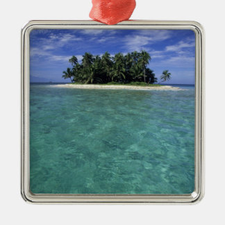 Belize, Barrier Reef, Unnamed island or cay. Silver-Colored Square Decoration