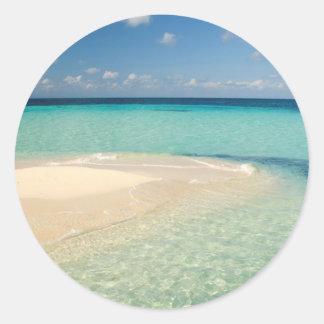 Belize, Caribbean Sea. Goff Caye, A Small Island Classic Round Sticker