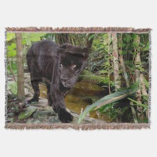Belize City Zoo. Black panther Throw Blanket