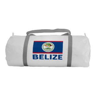 Belize Flag Customizable Blue Text Gym Duffel Bag