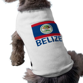 Belize Flag Customizable Blue Text Sleeveless Dog Shirt