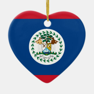 Belize Flag Heart Christmas Ornament