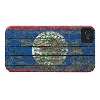 Belize Flag on Rough Wood Boards Effect iPhone 4 Cases