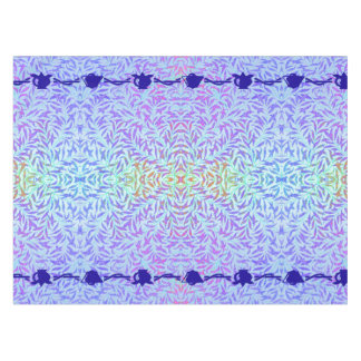 Bell and Pomegranate border on leafy blue purple Tablecloth
