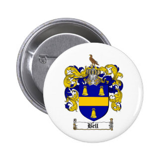 BELL FAMILY CREST -  BELL COAT OF ARMS 6 CM ROUND BADGE