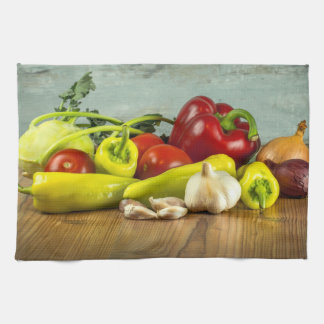 Bell Pepper Onion and Garlic Kitchen Towels