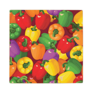 Bell Pepper Pattern Wood Coaster