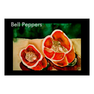 Bell Peppers Kitchen Vegies Watercolor Painting Poster