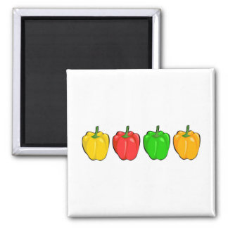 Bell Peppers Square Magnet