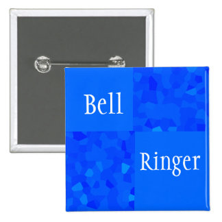 Bell Ringer - Blue Mosaic Pinback Buttons
