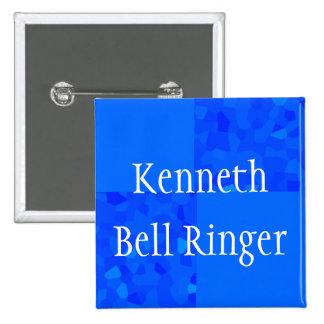 """Bell Ringer"" - Blue Mosaic w/ Name 15 Cm Square Badge"