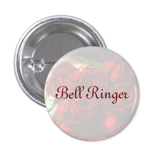 """""""Bell Ringer"""" - Red Rose Bouquet (1) 3 Cm Round Badge"""