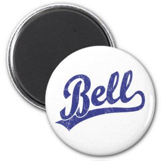 Bell script logo in blue 6 cm round magnet