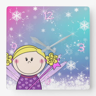 Bell - small princess - snow flakes and ASTRE Square Wall Clock