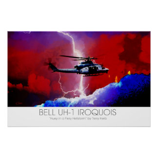 Bell UH-1 Iroquois Huey Lightning Strike Surreal Poster
