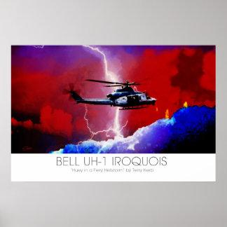 Bell UH-1 Iroquois Huey Lightning Strike Surreal Poster