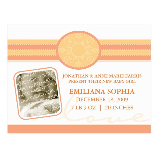 Bella Baby Citrus Birth Announcement Postcard