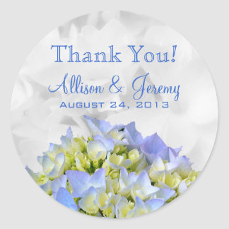 Bella Blue Hydrangeas Round Reception Favor Labels